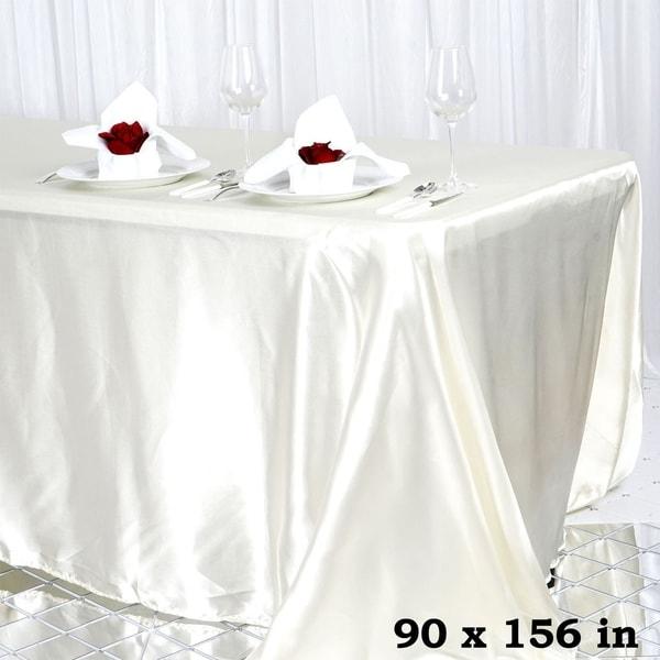 "Satin Rectangle Tablecloth 90"" x 156"" Ivory"