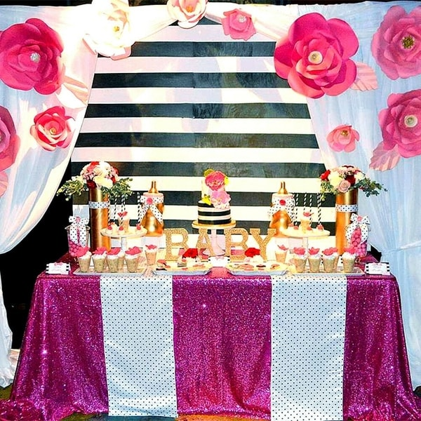 "Sequin Sparkly Rectangular Tablecloth 60"" x 102"" Fuchsia"