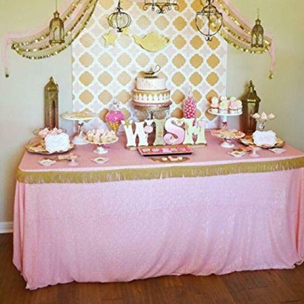 "Sequin Sparkly Rectangular Tablecloth 60"" x 102"" Pink"