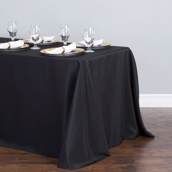 "Polyester Linen Rectangle Table Cloth 90"" x 156"" Black"