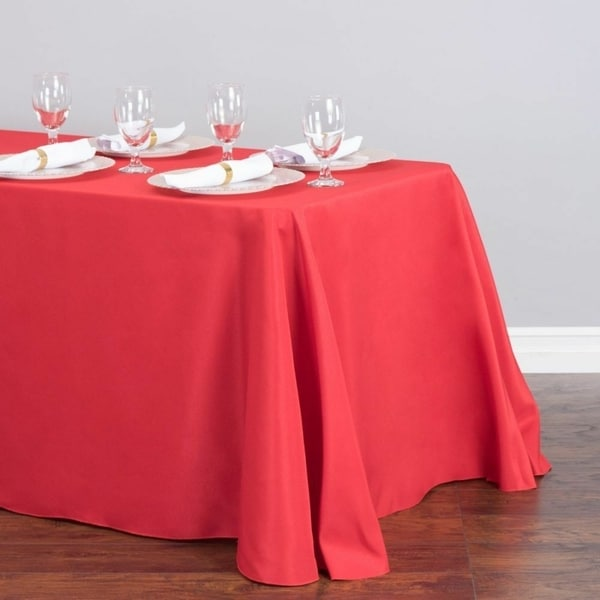 """Polyester Linen Rectangle Table Cloth 90"""" x 156"""" Red"""