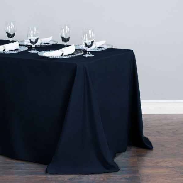 "Polyester Linen Rectangle Table Cloth 90"" x 156"" Navy Blue"