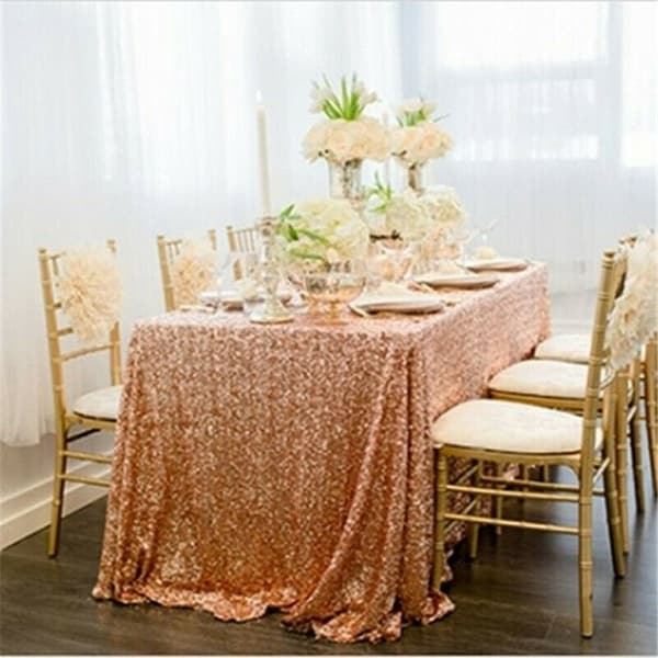 "Sequin Sparkly Rectangular Tablecloth 60"" x 102"" Rose Gold"