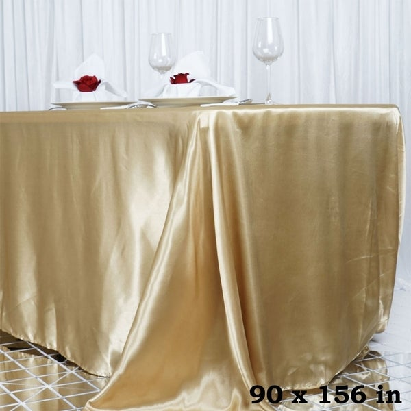 "Satin Rectangle Tablecloth 90"" x 156"" Champagne"