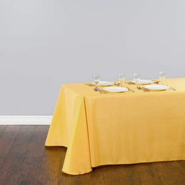 """Polyester Linen Rectangle Table Cloth 90"""" x 156"""" Gold"""