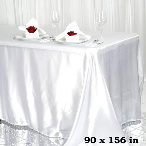 "Satin Rectangle Tablecloth 90"" x 156"" White"