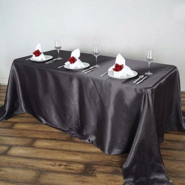 "Satin Rectangle Tablecloth 90"" x 156"" Grey"