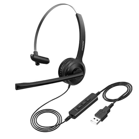Mpow USB Headset Stereo Computer Headset with Noise Cancelling Mic Wired Headphones for Conference Laptop Tablets