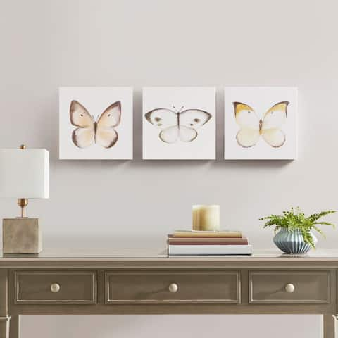 Madison Park Vintage Butterfly Multi Hand Embellished Butterfly 3 Piece Canvas Set