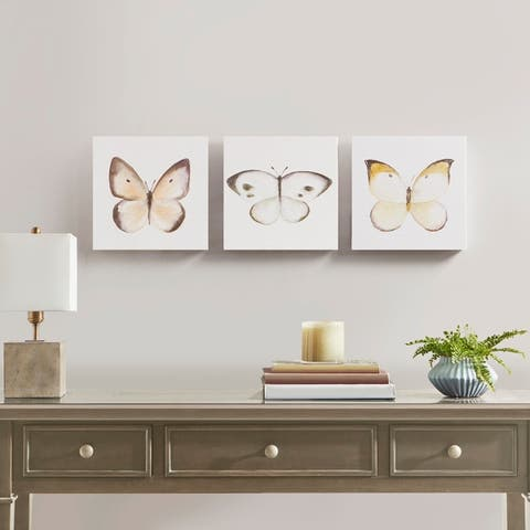 Madison Park Vintage Butterfly Hand Embellished Butterfly 3 Piece Canvas Set