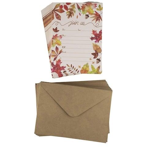 50 Fall Autumn Leaves Wedding Bridal Shower Dinner Invitations Cards w/Envelopes