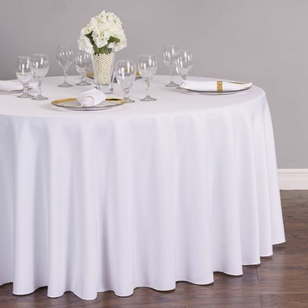 "Polyester Round Tablecloth 108"" White"