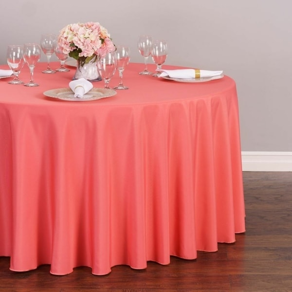 """Polyester Round Tablecloth 108"""" Coral"""