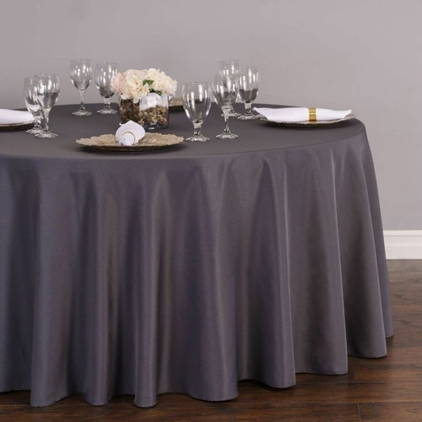 "Polyester Round Tablecloth 108"" Charcoal"