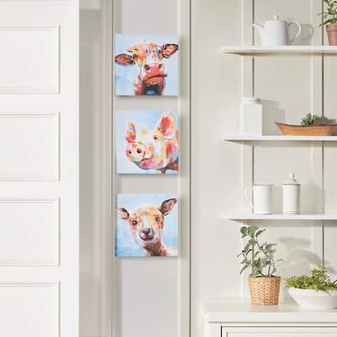 Madison Park Farm Animals Multi Printed Canvas 3 Piece Set