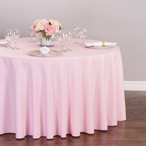 """Polyester Round Tablecloth 108"""" Pink"""