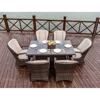 Moda 7-Piece Patio Wicker Rectangle Dining Table Set with Cushions