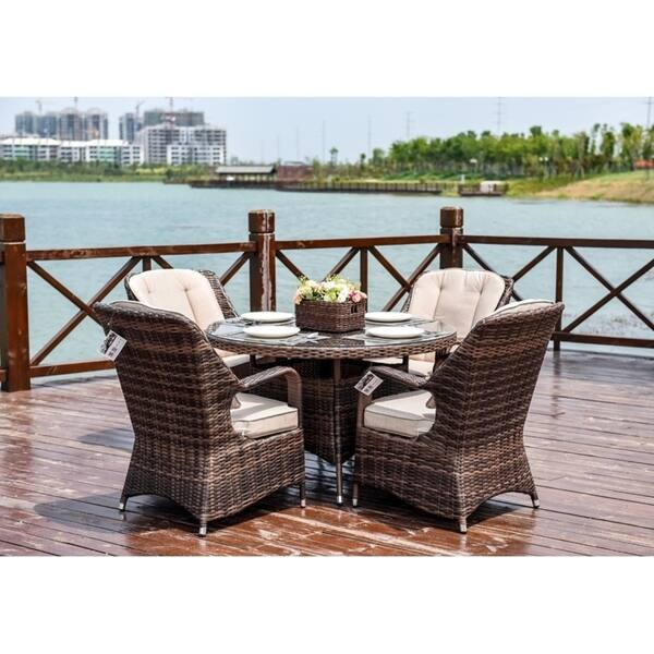 Shop Moda 5 Piece Patio Wicker Round Dining Table Set With Cushions Overstock 29816657 Brown