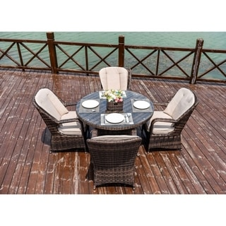 Moda 5-Piece Patio Wicker Round Dining Table Set with Cushions