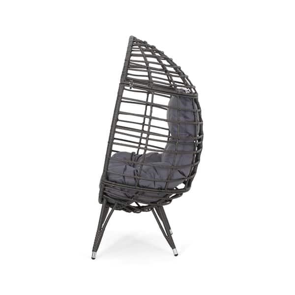 Pleasing Shop Savin Indoor Wicker Teardrop Chair With Cushion By Creativecarmelina Interior Chair Design Creativecarmelinacom