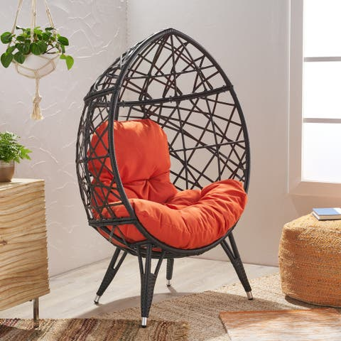 Pompano Indoor Wicker Teardrop Chair with Cushion by Christopher Knight Home