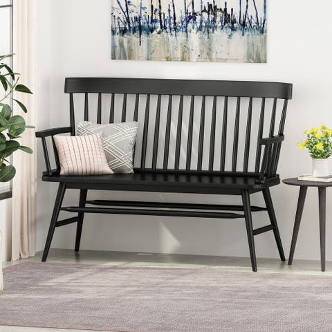 "Maharis Farmhouse Rubberwood Bench by Christopher Knight Home - 49.60"" W x 20.75"" D x 36.00"" H"