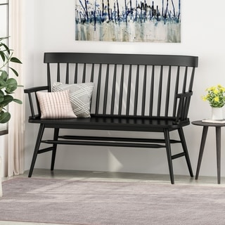 "Link to Maharis Farmhouse Rubberwood Bench by Christopher Knight Home - 49.60"" W x 20.75"" D x 36.00"" H Similar Items in Kitchen & Dining Room Chairs"