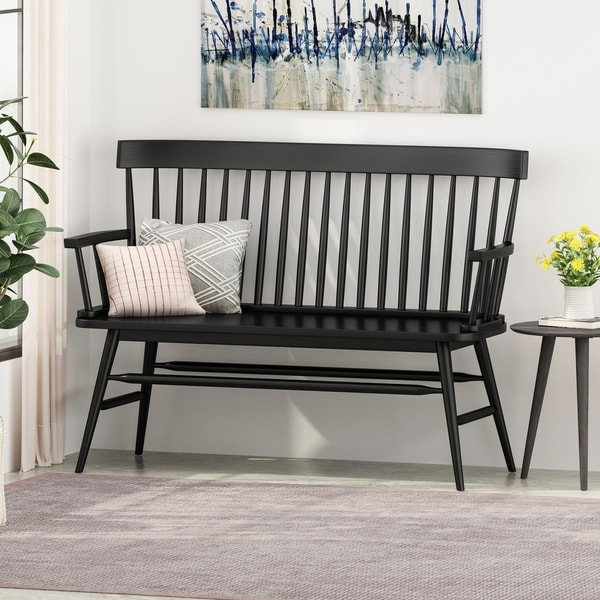 "Maharis Farmhouse Rubberwood Bench by Christopher Knight Home - 49.60"" W x 20.75"" D x 36.00"" H. Opens flyout."
