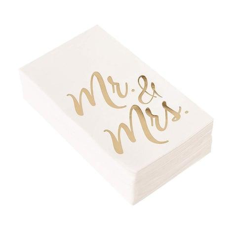 """50-Pack Wedding Dinner Paper Napkins Mr and Mrs Gold Foil, White, Folded 4"""" x 8"""""""