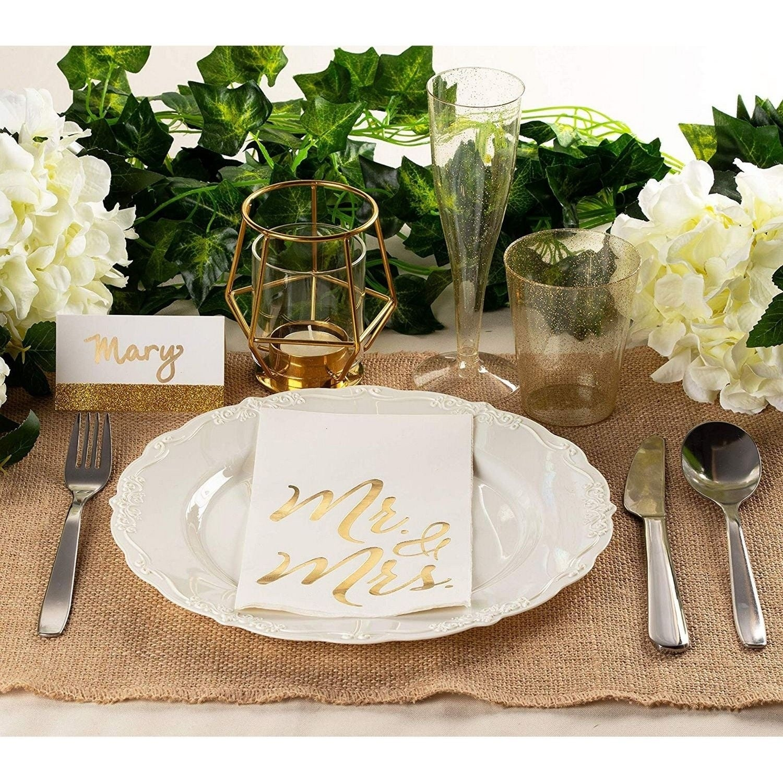 50 Pack Wedding Dinner Paper Napkins Mr And Mrs Gold Foil White Folded 4 X 8 Overstock 29816795