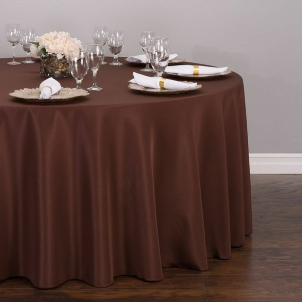 "Polyester Round Tablecloth 132"" Chocolate"