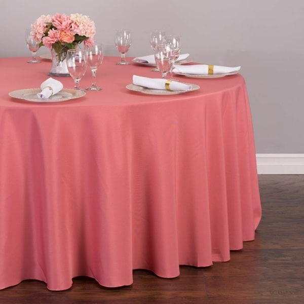 """Polyester Round Tablecloth 132"""" Strawberry Ice"""