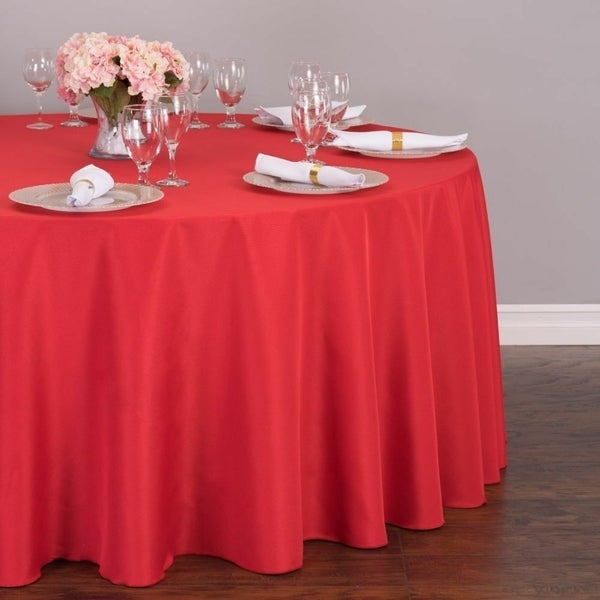 """Polyester Round Tablecloth 132"""" Red"""