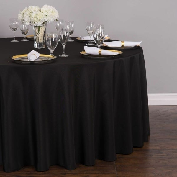 """Polyester Round Tablecloth 132"""" Black"""