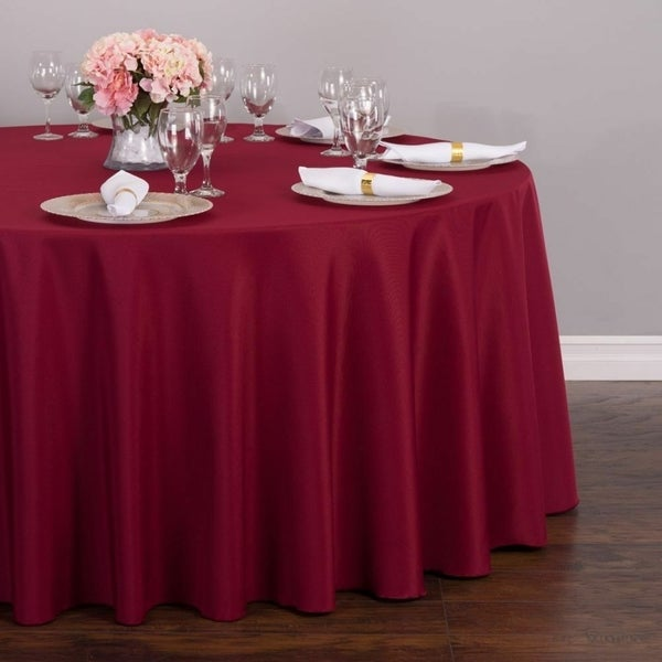 """Polyester Round Tablecloth 132"""" Burgundy"""