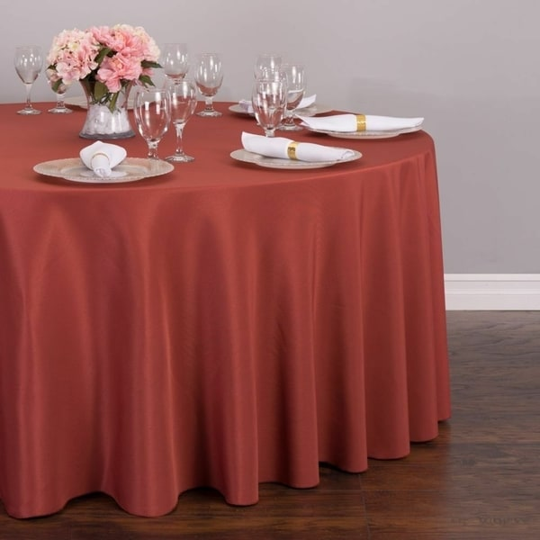 """Polyester Round Tablecloth 132"""" Marsala"""