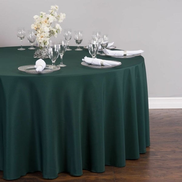 """Polyester Round Tablecloth 132"""" Hunter Green"""