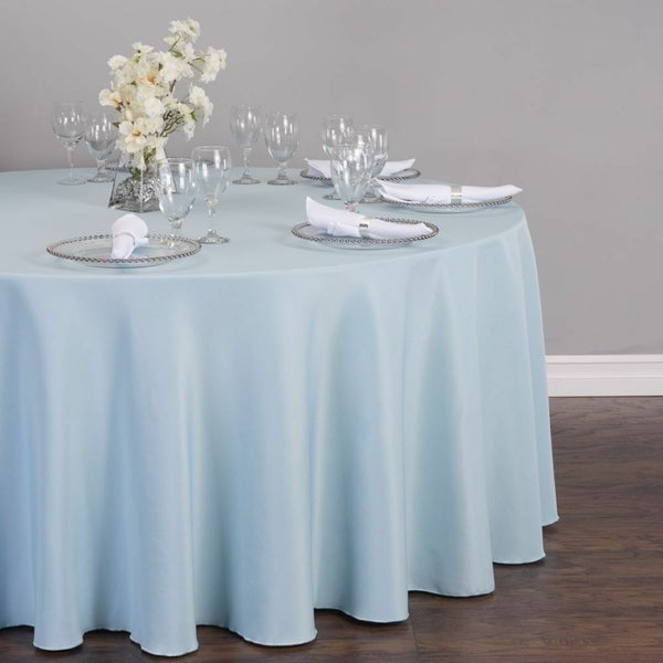 """Polyester Round Tablecloth 132"""" Baby Blue"""