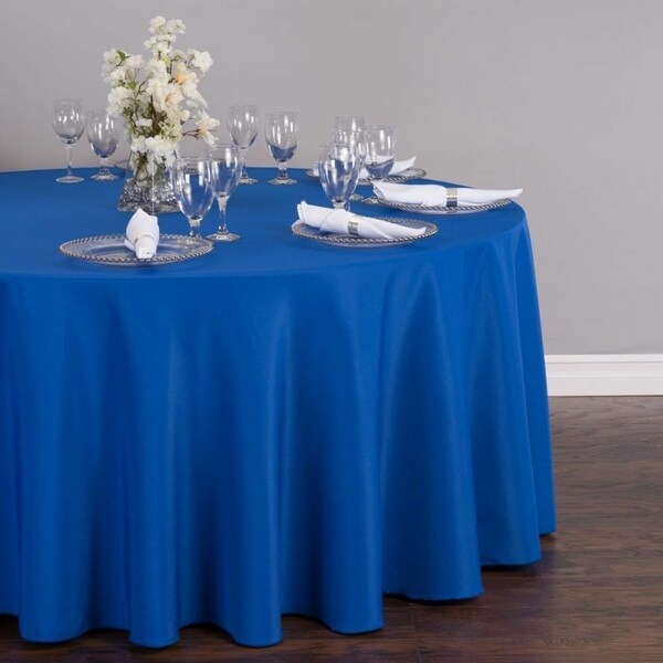 "Polyester Round Tablecloth 132"" Royal Blue"
