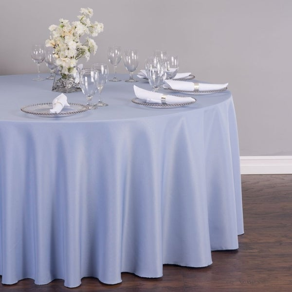 """Polyester Round Tablecloth 132"""" Serenity Blue"""