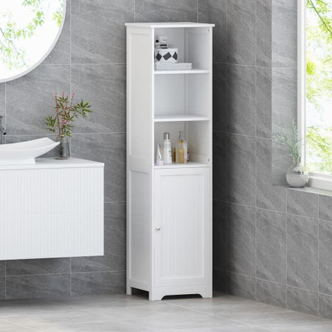 Heineberg Modern Free Standing Bathroom Linen Tower Storage Cabinet by Christopher Knight Home