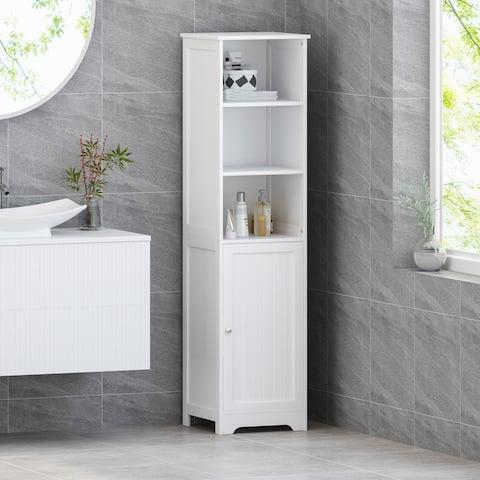 Heineberg Modern Free Standing Bathroom Linen Tower Storage Cabinet by Christopher Knight Home