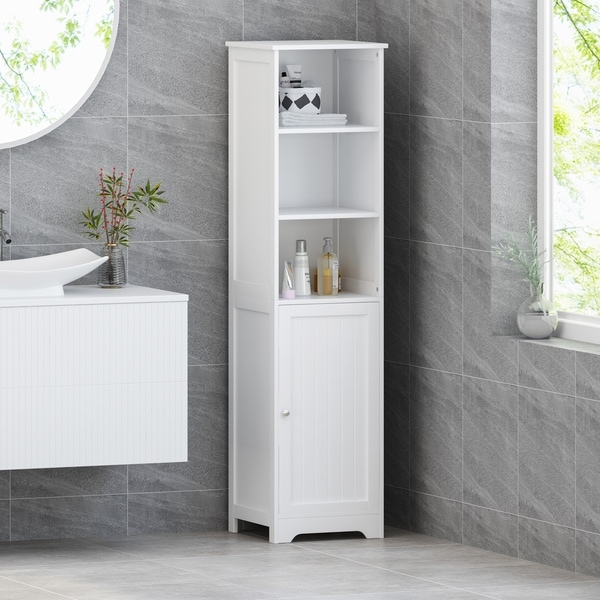 Heineberg Modern Free Standing Bathroom Linen Tower Storage Cabinet by Christopher Knight Home. Opens flyout.