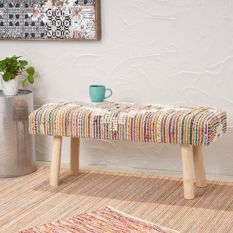 Laveta Handcrafted Boho Fabric Rectangular Bench by Christopher Knight Home
