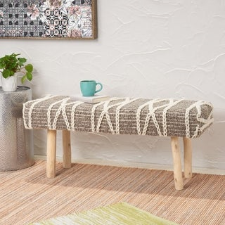Link to Laveta Handcrafted Boho Fabric Rectangular Bench by Christopher Knight Home Similar Items in Living Room Furniture