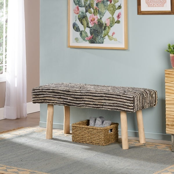 Laveta Handcrafted Boho Leather and Cotton Rectangular Bench by Christopher Knight Home