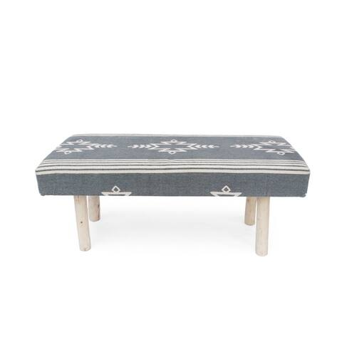 Laveta Handcrafted Boho Cotton Rectangular Bench by Christopher Knight Home