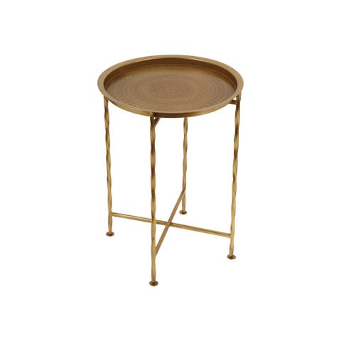 Beaufait Vintage Style Iron Tray Top Side Table by Christopher Knight Home