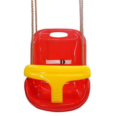 High Back Infant Swing Wide Seat Belt Toddler Child Kid Outdoor Play Red