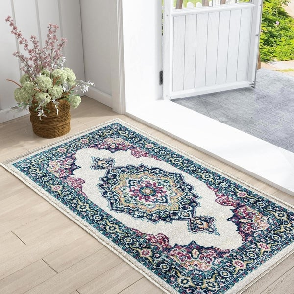Blue Area Rugs Morrocan Carpet Rug for Bedroom, Kitchen, Patio, Living Room